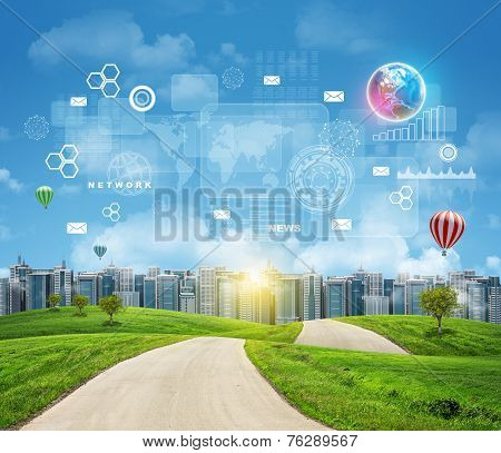 Road with green grass. Buildings, Earth and other virtual elements as backdrop