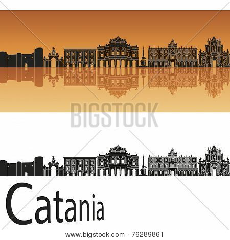 Catania Skyline In Orange Background
