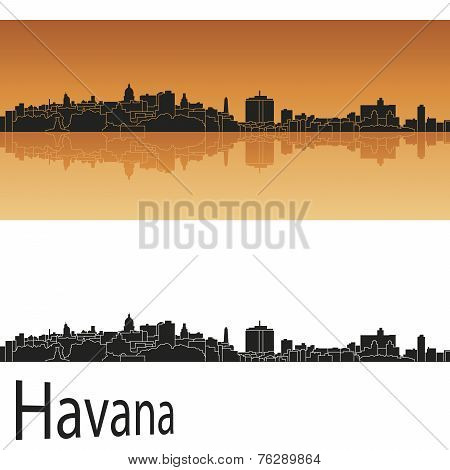 Havana Skyline In Orange Background