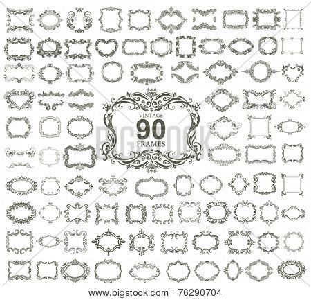 Set of 90 vintage floral frames.