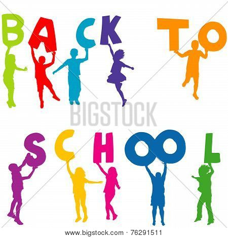 Children Silhouettes Holding Letters With Back To School