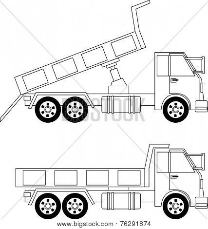 Illustration of dump truck isolated on white background