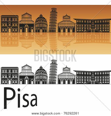 Pisa Skyline In Orange Background