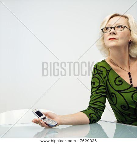 geschäftsfrau Holding Handy
