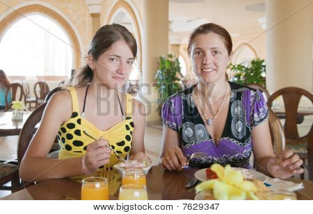 Two Girls Having Lunch