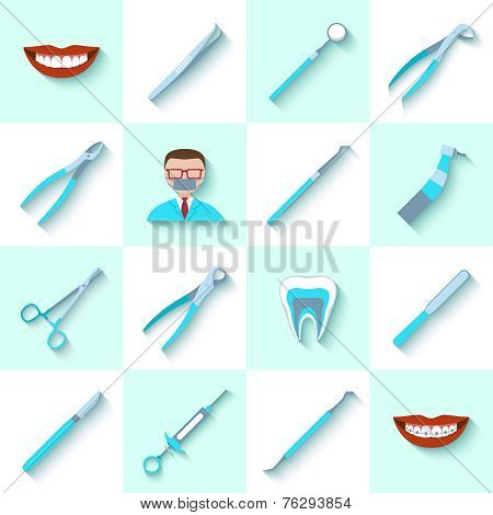 Dental instruments icons set