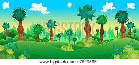 Green forest. Vector cartoon illustration.
