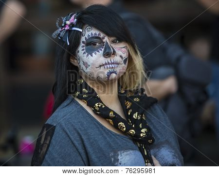 Young Woman In Dia De Los Muertos Makeup