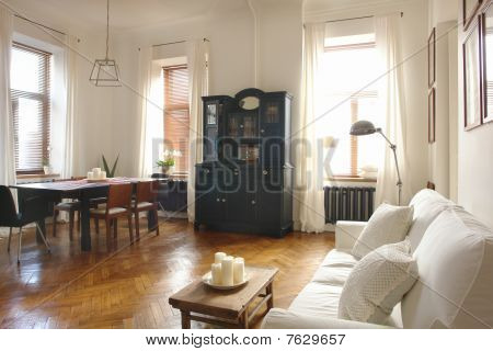 interior of a living room and dinning room