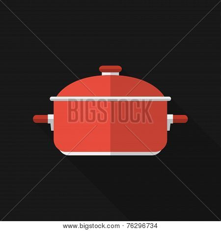 Flat saucepan with long shadow. Vector icon