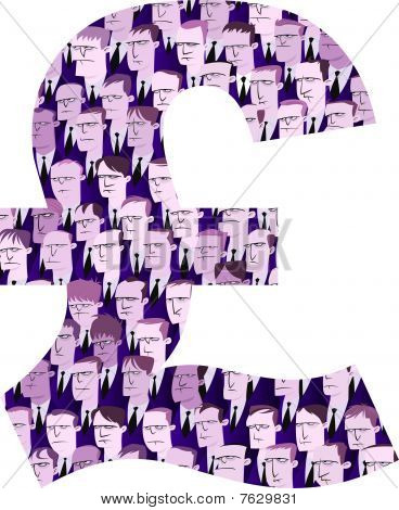 Pound Sterling Symbol made of Businessmen