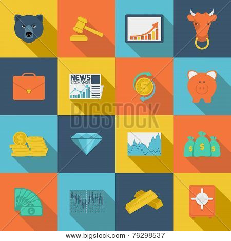 Finance exchange flat icons