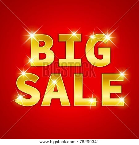 Yellow gold metal Big Sale text icon with sparkle on red background