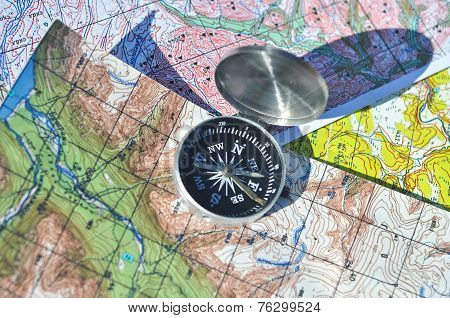 Compass On The Maps.