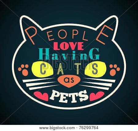 Vector illustration of cat silhouette with yellow eyes and message