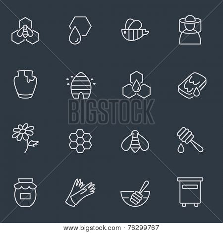 Honey and beekeeping icons, thin line design, dark background