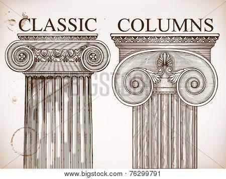 Classical column background set.