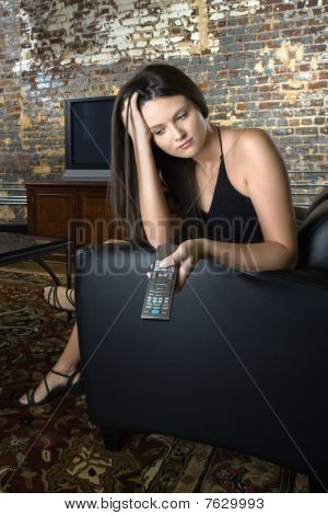 Woman Holding Remote Control