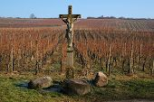 stock photo of crucifiction  - Statue of Jesus Christ in a French vineyard