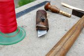 image of leather tool  - Tool for making leather accessories and some of product - JPG