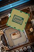picture of processor socket  - Modern processor and motherboard for a home computer - JPG