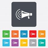 picture of striking  - Megaphone sign icon - JPG