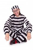 stock photo of inmate  - Prison inmate isolated on the white background - JPG