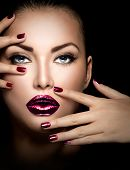 stock photo of manicure  - Fashion model girl face - JPG