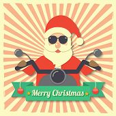 foto of starburst  - Santa Claus wearing sunglasses and riding motorcycle within Merry Christmas ribbon badge on starburst background - JPG