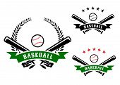 picture of baseball bat  - Baseball emblems or badges with crossed bats and a ball behind a ribbon banner containing the word Baseball on with a laurel wreath - JPG