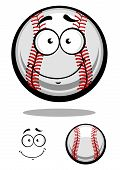 stock photo of googly-eyes  - Smiling cartoon baseball ball with red stitching and googly eyes with a second plain variant with separate smile element - JPG