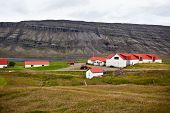 image of iceland farm  - Typical Farm House at Icelandic Fjord Coast - JPG