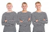 picture of conscript  - Smiling guys in a striped shirt with arms crossed - JPG