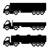 image of dumper  - Vector set of silhouettes the cargo trucks - JPG