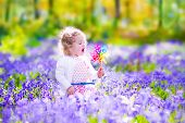 stock photo of blue-bell  - Adorable little girl with curly hair wearing a white dress playing with a wind toy having fun on a walk in a beautiful spring forest with blue bell flowers - JPG
