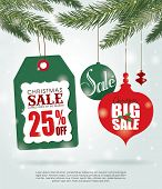 stock photo of year end sale  - Christmas sale poster with sale tag  - JPG