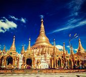 foto of yangon  - Vintage retro effect filtered hipster style image of Myanmer famous sacred place and tourist attraction landmark  - JPG