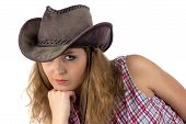 image of hillbilly  - Photo of young cowgirl on white background  - JPG