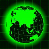 stock photo of north-pole  - Green Asia map - JPG