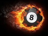 foto of pool ball  - Pool Billiards Ball in Fire - JPG