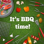 stock photo of barbecue grill  - barbecue grill picnic poster with meat fish vegetables vector illustration - JPG
