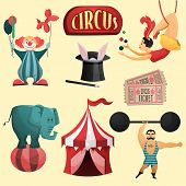pic of circus clown  - Circus decorative set with tent clown magic hat isolated vector illustration - JPG