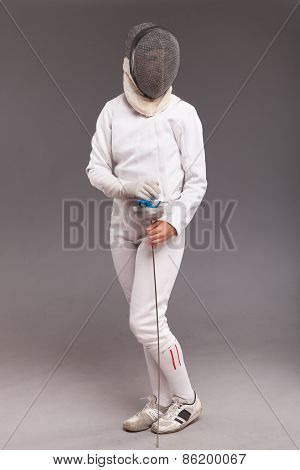 Female fencer with sword