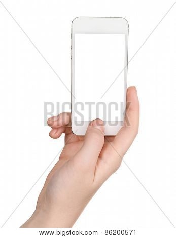 Hands holding smart phone isolated on white