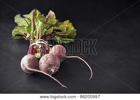 Fresh Beetroot Bunch On Blackboard
