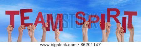 People Hands Holding Red Word Team Spirit Blue Sky