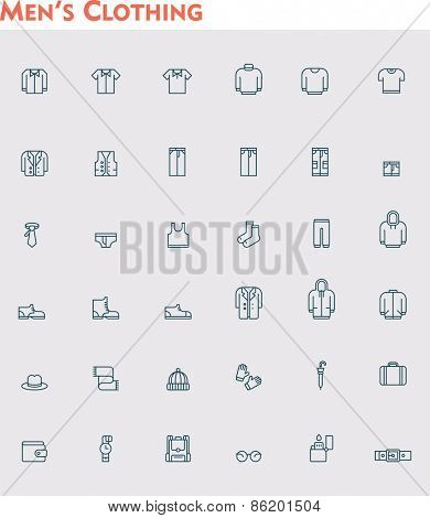 Set of the men clothes icons