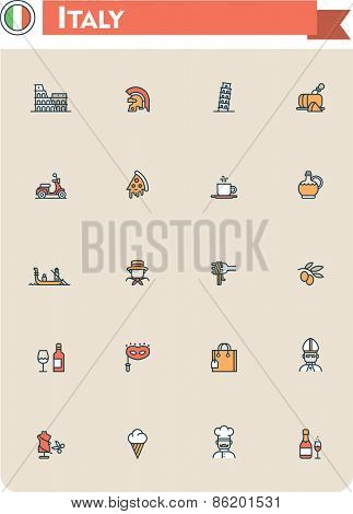Set of the Italy traveling related icons