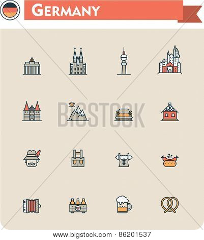 Set of the Germany traveling related icons