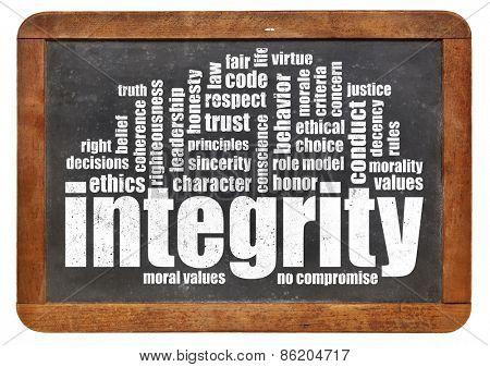 integrity word cloud on a vintage slate blackboard